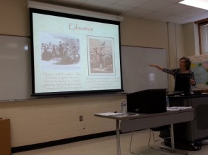 Dr. van Zelm presenting at a Teaching with Primary Sources event