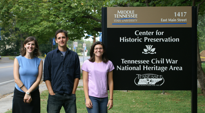 Center for Historic Preservation Sign and Students