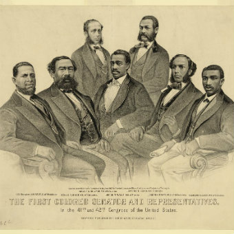 The first colored senator and representatives - in the 41st and 42nd Congress of the United States [1872] (Courtesy of the Library of Congress).